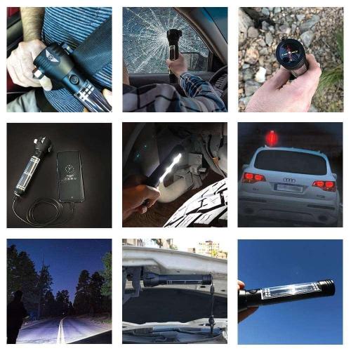 9-IN-1 Multi-Function Solar Powered LED Flashlight Emergency Survival Powerbank
